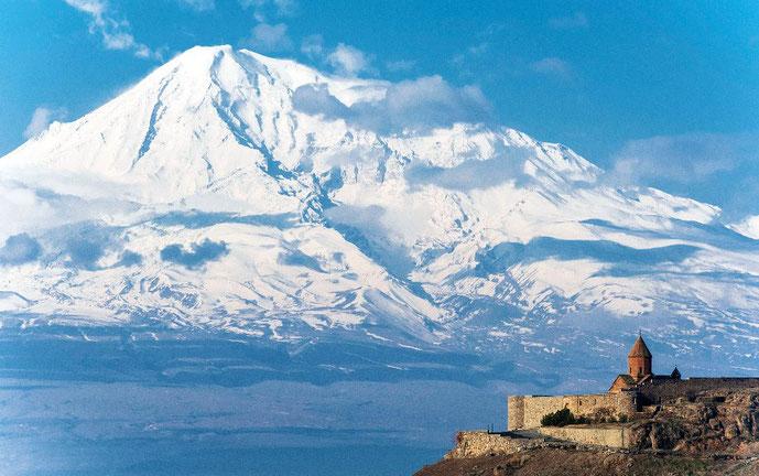 Ararat-bjerget med det armenske kloster Chor Virap