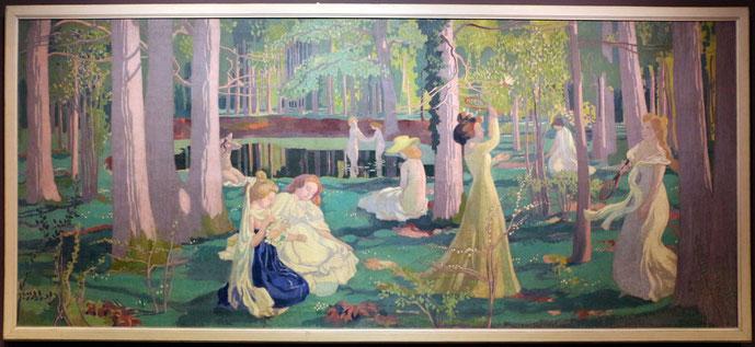 Gioco del volano, Racket game on a lawn (1900)