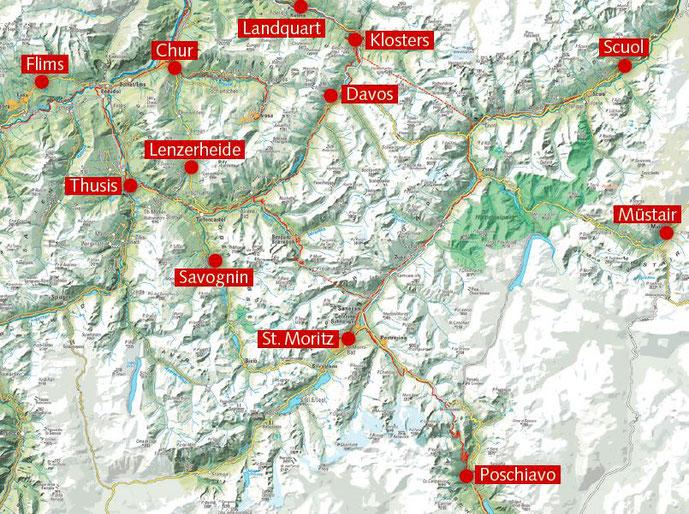 Standorte für die fast 50 Kurse in Graubünden