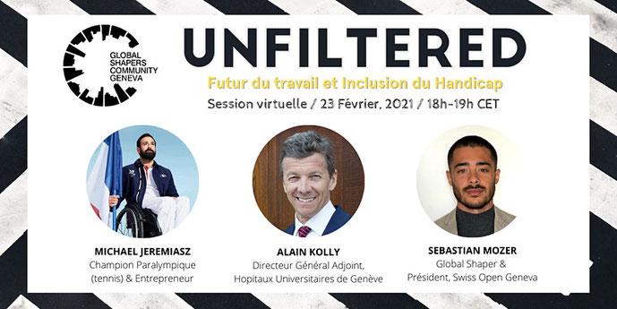 Image événement inclusion du Handicap Unfiltered GS Michael Jeremiasz Alain Kolly Sebastien Mozer