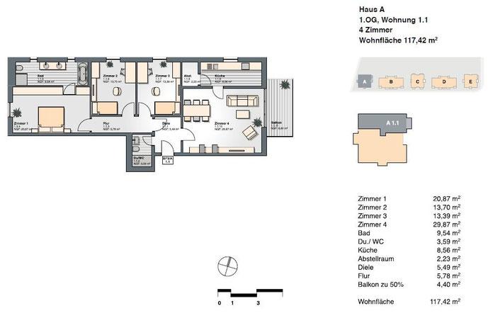 4-Zimmer-Wohnung mit einer Wohnfläche von  117,42 qm.