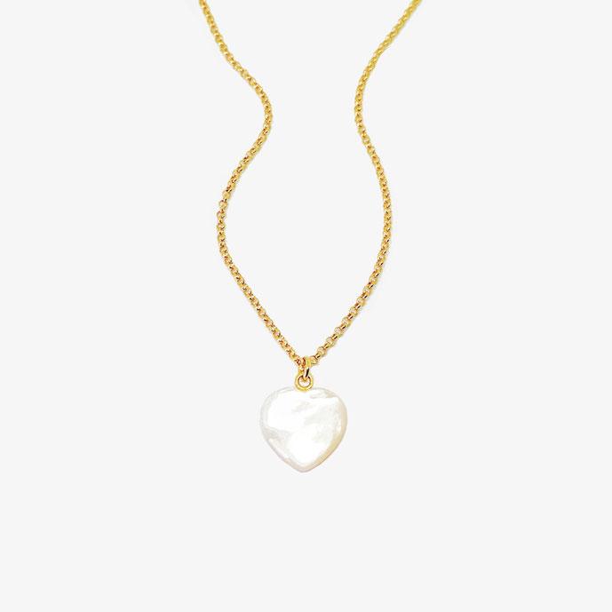 Goldene Kette mit weißem Perlmutt Herz Anhänger. Kette mit Herzanhänger. Geburtstagsgeschenk. Muttertagsgeschenk. Geschenk für Muttertag. Goldener Schmuck mit schimmerndem Perlmutt. 925 Sterling Silber, 18k vergoldet.