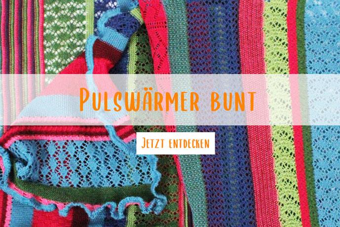 Schal in bunten Farben aus Wolle Lochstrick
