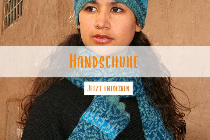 Petrolfarbene Handschuhe gestrickt Jaquard aus Wolle