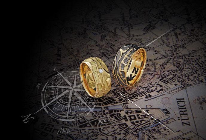 Trauring / Partnerring Modell: SchatzRing in Gelbgold mit Diamant von der Goldschmiede OBSESSION Zürich und Wetzikon
