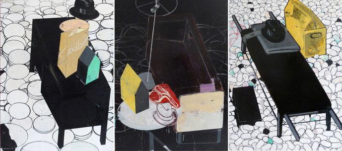 """Schögel's Schicksal"", 2013, 160 x 330 cm (3x 160 x 110 cm) Öl auf Leinen"