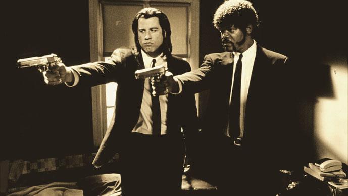 "Vincent Vega (John Travolta) e Jules Winnfiel (Samuel L. Jackson) on ""Pulp fiction""- Quentin Tarantino, 1944."