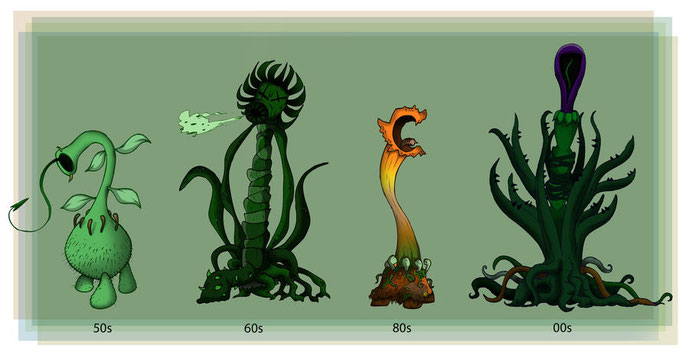 Evolució dels tífids al llarg dels anys per Rootay (Deviantart)