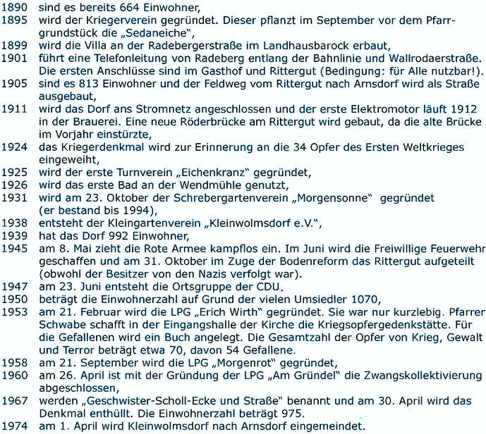 Bild: Kleinwolmsdorf Chronologie