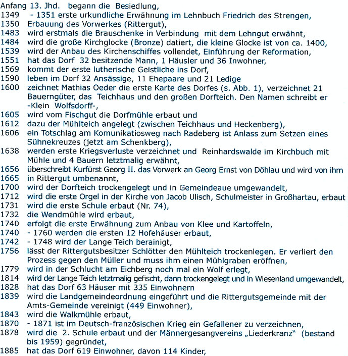 Bild: Teichler Kleinwolmsdorf Chronologie