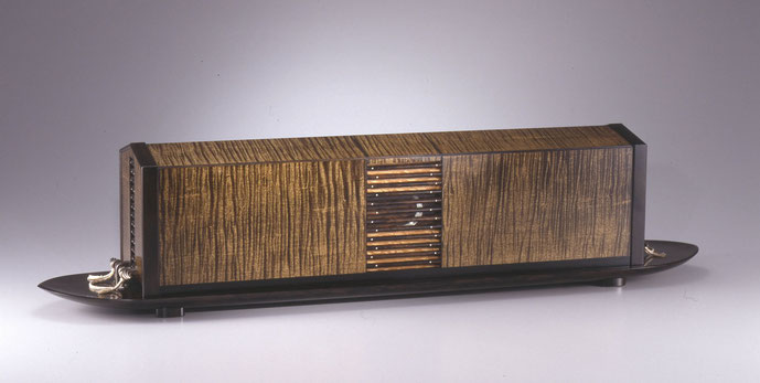 Kojō Getsuya (Moon over Lake)   ―Box of sycamore maple with inlay, finished in wiped urushi lacquer―