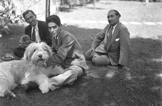 6th July 1934 : ( L-R ) Chanji Dadachanji, Adi S Irani & Kaka Baria at the Mertens home with Johnny the dog. - Courtesy of MN Collection