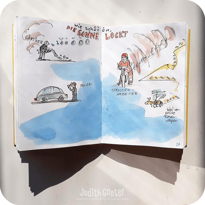 Skizzenbuch Hamburg - Die Sonne lockt - LÄRM OHNE ENDE - Judith Ganter - Illustriertes Kopfkino für Alltagsoptimisten - Zeichnungen Hamburg - Motivation Alltag, Achtsam unterwegs, Achtsamkeitstraining, Achtsam kreativ, Zeichnung Alltag #achtsamkeit