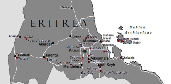 Kort over hemmelige fængsler (røde prikker) i Eritrea. @ Amnesty International
