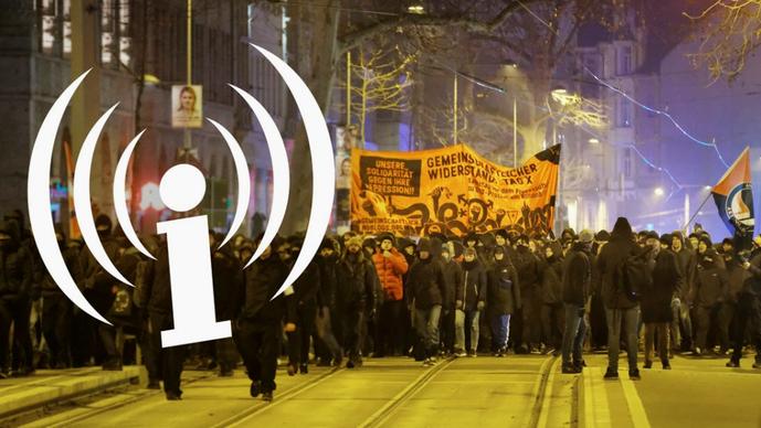 Omkring 1600 mennesker demonstrerede i Leipzig d. 25. januar 2020 i solidaritet med den kriminaliserede medieportal linksunten-indymedia