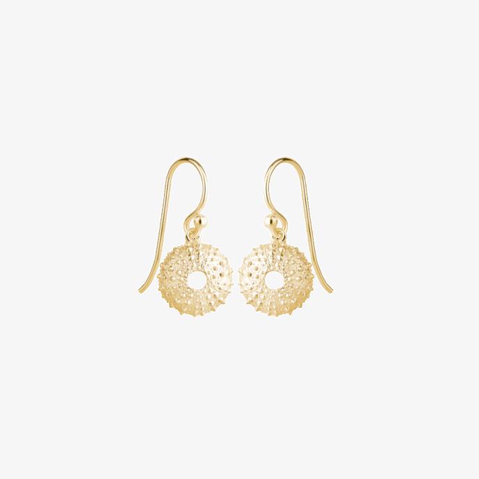 Goldene Runde Seeigel Ohrhänger. 925 Sterling Silber, vergoldet. Muschelschmuck, Strandschmuck. Hochzeitsschmuck, Echtschmuck. Handgefertigt vom Goldschmied.