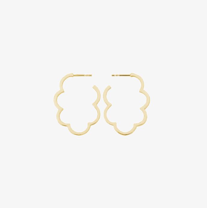 Luftig, leichte goldene Wolken Ohrringe aus 925 Sterling Silber, 18k vergoldet. Große goldene Ohrringe. Kreolen, Gold. Schmuck vom Goldschmied.