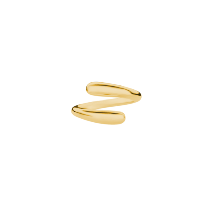 Goldener, offener, geschwungener, massiver Ring aus 18k (750) vergoldetem 925 Sterling Silber. Anpassbarer Ring. Boldring, Ring aus Silber, vergoldet. Ring Tropfen. Schmuck vom Goldschmied. Handgefertigter Ring. Größenanpassbar.
