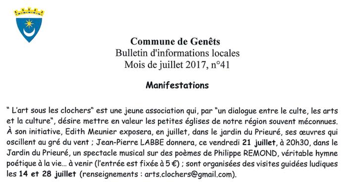 Extrait du Bulletin d'informations locales de Genêts - juillet 2017
