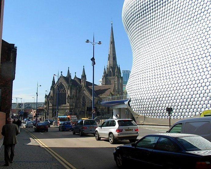 St Martin's-in-the-Bull Ring and the Selfridges building