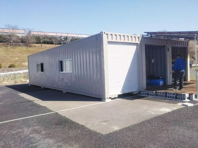 可児郡御嵩町 中古コンテナ40ftハイキューブ追加1本ドッキング設置
