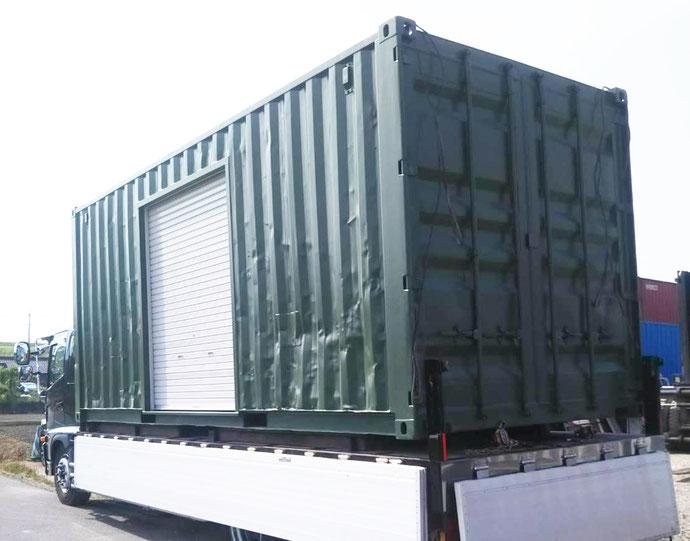 東京都小平市 中古コンテナ20ft換気扇LED2・シャッター付きグリーン塗装設置