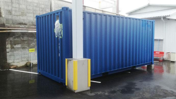 長野県飯田市 NEW VANコンテナ20ftブルー換気口付き設置