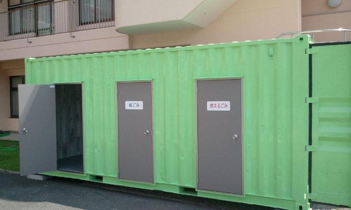 滋賀県高島市 病院施設様 中古コンテナ20ftドア・グリーン塗装