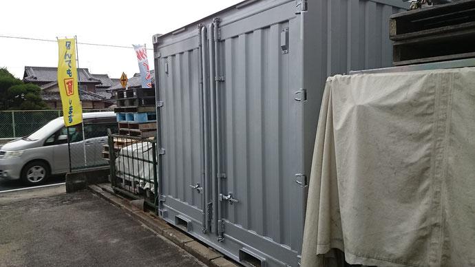 滋賀県草津市 中古コンテナ10ftシルバー塗装納品