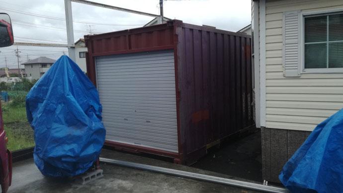 岐阜県大垣市 貨物用コンテナ12ftシャッター付設置