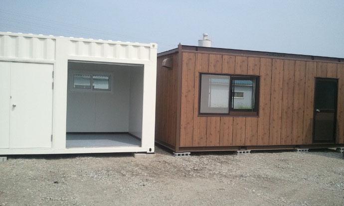 安八町 早川工務店様 H4型ユニットハウスとコンテナ12ft納品