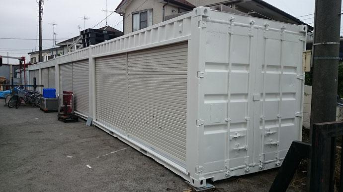 神奈川県相模原市 中古コンテナ20ftホワイト塗装納品