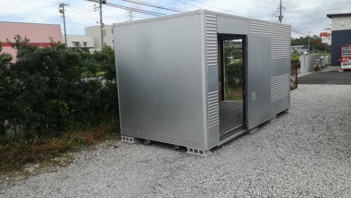大分県大分市 中古2tアルミコンテナ現状品設置