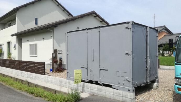 岐阜県瑞穂市 中古コンテナ12ftグレー塗装納品