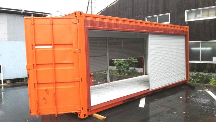 愛知県犬山市 中古コンテナ20ftシャッターの移設