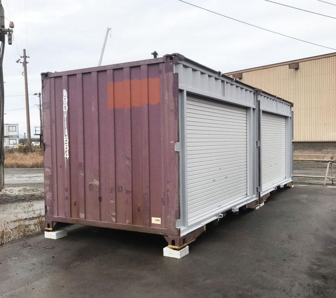 岡山県倉敷市 NEWVANコンテナ20ft・中古コンテナ12ft改造設置