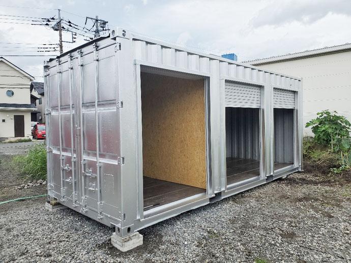 東京都町田市 中古コンテナ20ft3シャッター・間仕切り・シルバー塗装設置