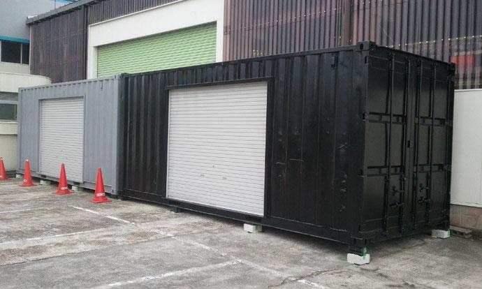 愛知県豊田市へ塗装済み中古コンテナ20ftシャッター付きを設置