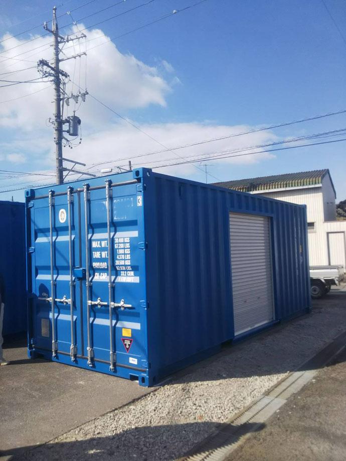 愛知県西尾市 NEWVANコンテナ20ftシャッター付き設置