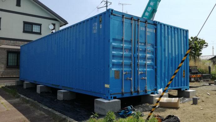 福島県いわき市 中古コンテナ40ftハイキューブ+20ft現状品設置
