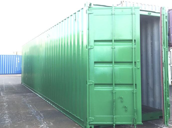 三重県鳥羽市 中古コンテナ40ftグリーン塗装設置