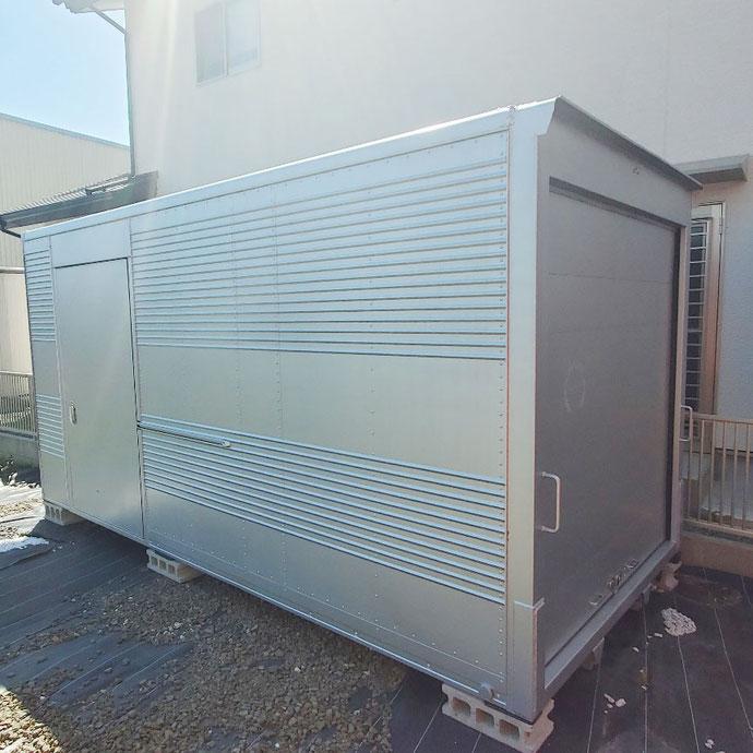 福井県御前崎市 中古2tアルミコンテナサイドドアシャッター付設置