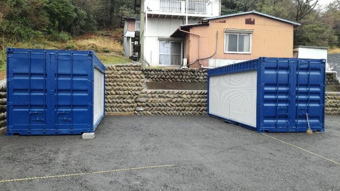 岐阜県関市 K社様 中古コンテナ20ftフルシャッター ブルー塗装 納品