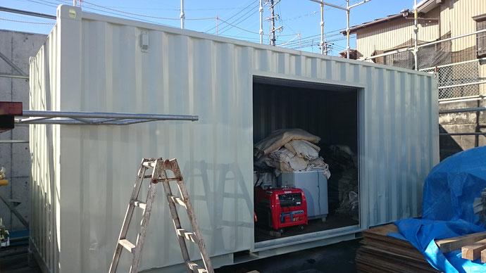 静岡県浜松市の塗装業者様に中古コンテナ20ft改造を納品