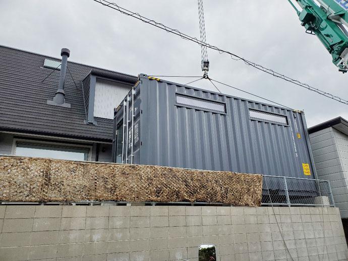 滋賀県 大津市 比叡山 NEWVAN コンテナ 20ft ハイキューブ 支給品 窓3 ドア グレー