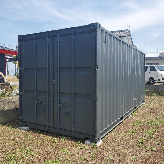 滋賀県米原市 中古コンテナ20ftグレー現状品設置