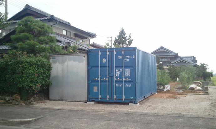 福井県越前市 NEWVANコンテナ20ft ブルー 納品