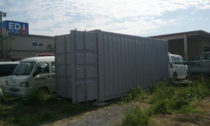 長野県 自動車整備業者様 中古コンテナ20ftグレー塗装済み