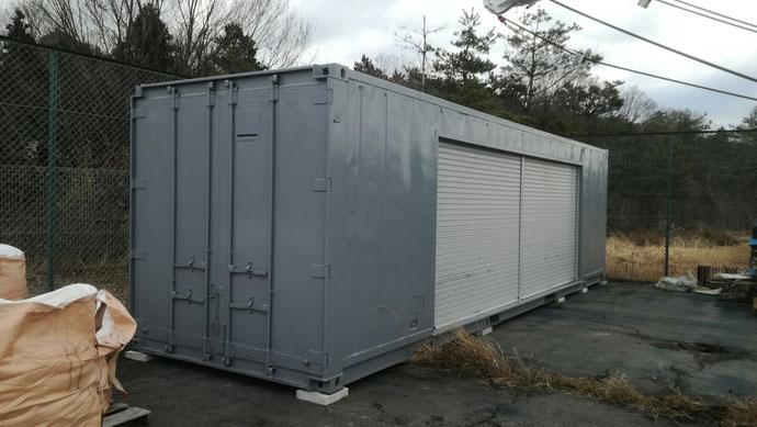 滋賀県八日市市 S社様 中古コンテナ30ftシャッター・グレー塗装納品