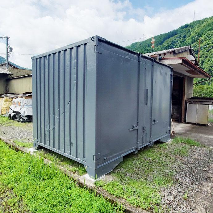 岐阜県郡上市 中古コンテナ12ftグレー設置
